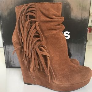 Express Suede Booties with Fringe Size 8
